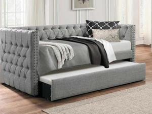 Upholstered Linen Daybed with Trundle ( Freds Beds )